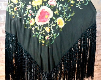 1930s beautiful floral embroidered black fringe piano scarf