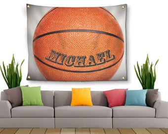 Basketball Tapestry-Personalized Basketball-Tapestry with Grommets-Custom Wall Decor-Basketball Wall Decor-Custom Sports Decor