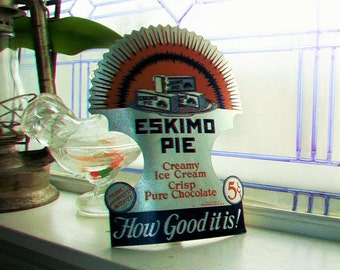 Vintage 1930s Eskimo Pie Cardboard Sign Stand Alone Easel Sign Ice Cream NOS