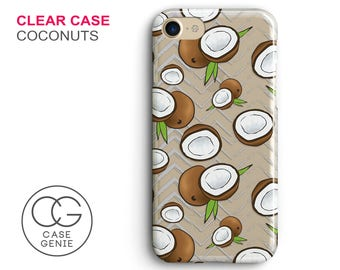 Coconuts Clear Phone Case for iPhone X, 8 Plus, 7, 6, 6s Cell Phone Cover Clear and Frosted Transparent Coconut Fruit