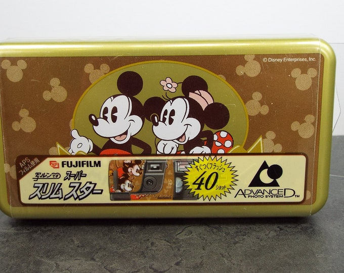 Super Rare Fujifilm Mickey and Minnie Mouse APS Film Camera in Tokyo Disneyland Collector's Tin - New, Never Used - Almost One of a Kind!