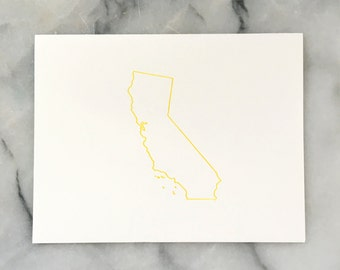 Golden State Outline in Golden Yellow, Single Card with Envelope