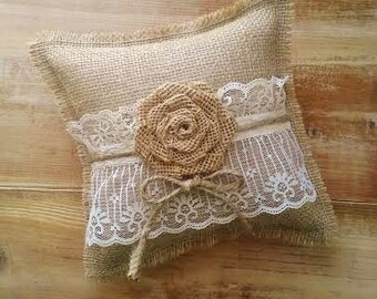 """8"""" x 8"""" Burlap Ring Bearer Pillow With Lace & Rosette/Jute Twine- Rustic/Country/Shabby Chic/Folk/Wedding-Vintage"""