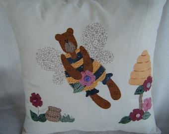 Appliqued Pillow Cover Bumble Bear - 100% HANDMADE