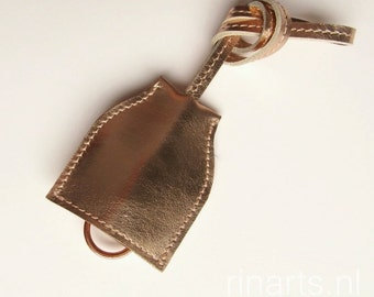 Key case bag charm in rose gold metallic leather. gift for women. Free personalising (3 initials)