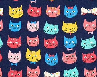 20 x 20 LAMINATED cotton fabric (similar to oilcloth) - Cat Whiskers & Tails - BPA free - Approved for children's products