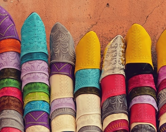 Babouches, Morocco Photography, Travel Print, Rainbow Art, Colorful Shoes, Slippers, Ethnic Photo, Market, Africa, Boho Wall Decor, Gypsy