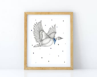 Print of an illustration of geese in flight wearing a scarf / watercolor and black marker in size 11 x 14 / minimalist Decor