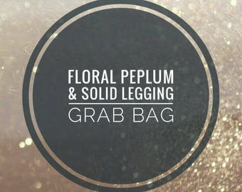 Floral peplum and solid legging grab bag, surprise, maker chooses fabrics