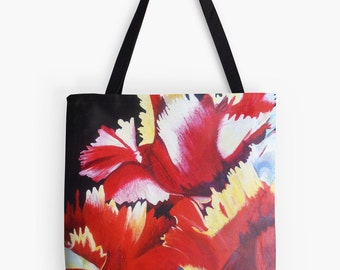 "Abstract Parrot Tulip Tote Bag - Artist's Mixed Media Painting Design. Two Sizes Available Medium 16"" and Large 18"""