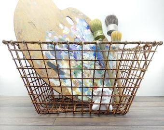 Oyster basket - Old iron basket - Rusty basket - Oysters - Basket shabby chic - Antique decoration - French basket - Loft decor - kitchen