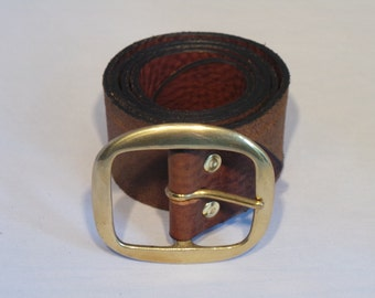 Brass Oval 2 Inch Buckle with Quality Full Grain Leather Belt Strap - Men's and Women's Designer Belts Made to Measure in UK Waist Size