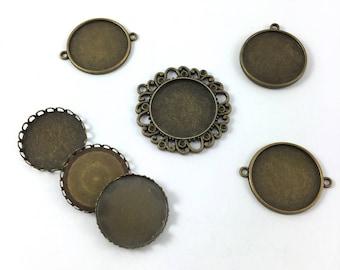 Set of 7 medium 25 mm round cabochon pendants