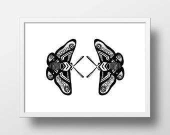 "Illustration ""Les papillons"" Print"