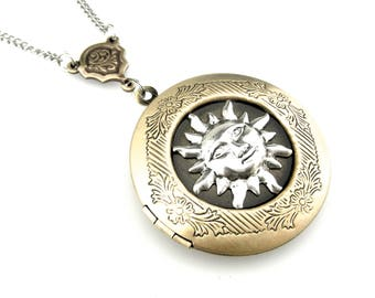 Solar Locket Picture Locket - Astronomy Locket Photo Locket Pendant - Sun Locket - Sun Face Locket - Cosmic locket - Celestial Locket