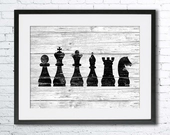 Chess art illustration print, chess painting, black and white art, chess silhouette, Wall art, Rustic Wood art, home decor, chess art