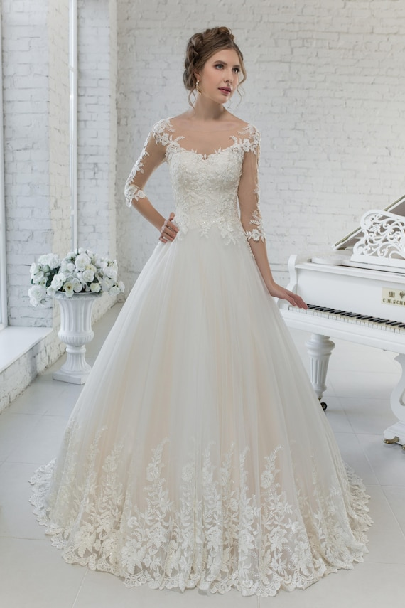 Wedding Dress Hochzeitskleid Brautkleid GABRIELLA 3/4 Arm