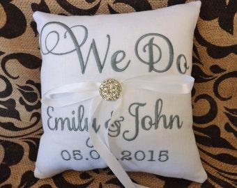 Anello cuscino portatore, ricamato portatore cuscino anello, matrimonio cuscino, cuscino nuziale, anello cuscino, cuscino personalizzato, cuscini personalizzato