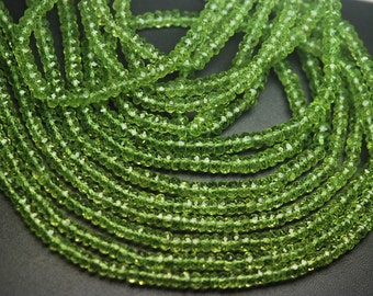 Gems Quality Strand,6.5 Inches Strand, AAA Super Rare Peridot Faceted Rondelles Large Size 4mm