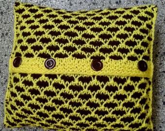 Handmade Pillow From Yarn // Yellow and Brown Pillow // Handmade // Soft Pillow