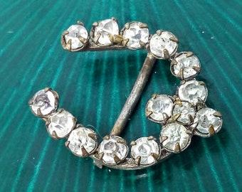 2.2cm, horseshoe, Vintage rhinestone buckle, art deco buckle, art deco belt buckle, rhinestone belt buckle, rhinestone  buckle, wedding, #10