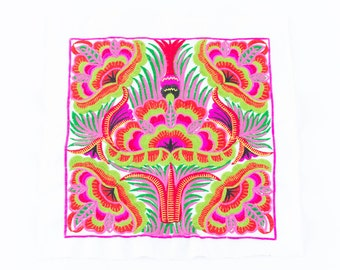 White Orchids Tribal Textile Embroidered Craft Fabric Made By Hmong Fair Trade (TX101WHIO)