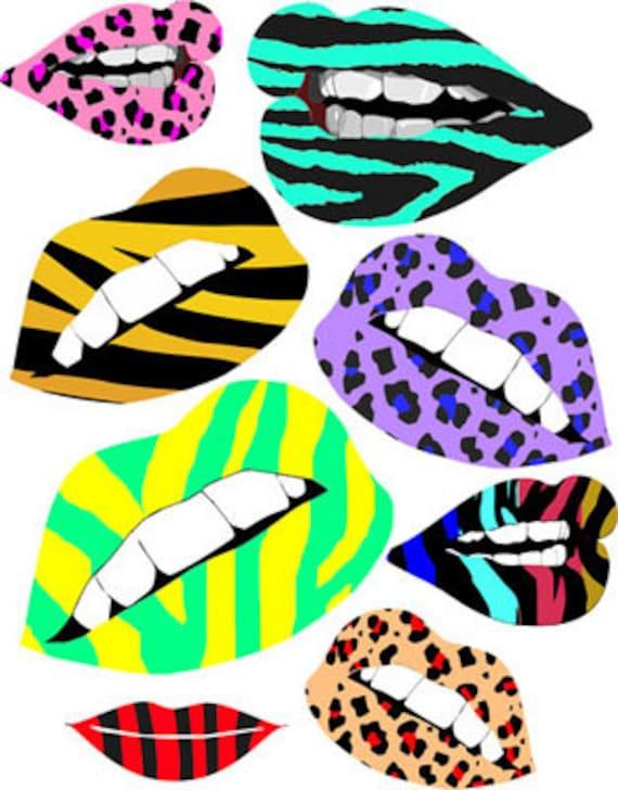 lips lipstick animal patterns printable makeup art collage clipart downloadable digital download art image graphics beauty cosmetics prints
