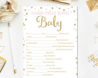 Pink And Gold Baby Shower Games, Name That Song Game, Baby Songs Game.