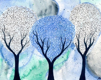 Silver White Winter - original watercolour tree painting by KL Bailey Art