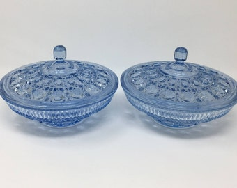2 Covered Blue Glass Bowls, Federal Glass, Blue Windsor Candy Dishes, Candy Boxes, Button Cane Design, Wedding Bowls