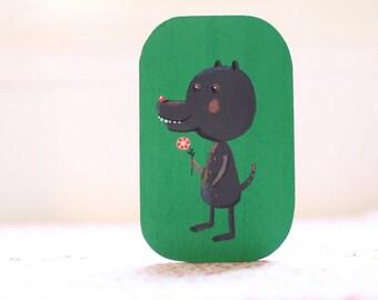 little wolf  small original painting, children room decor, wall art, wall decor, art for children