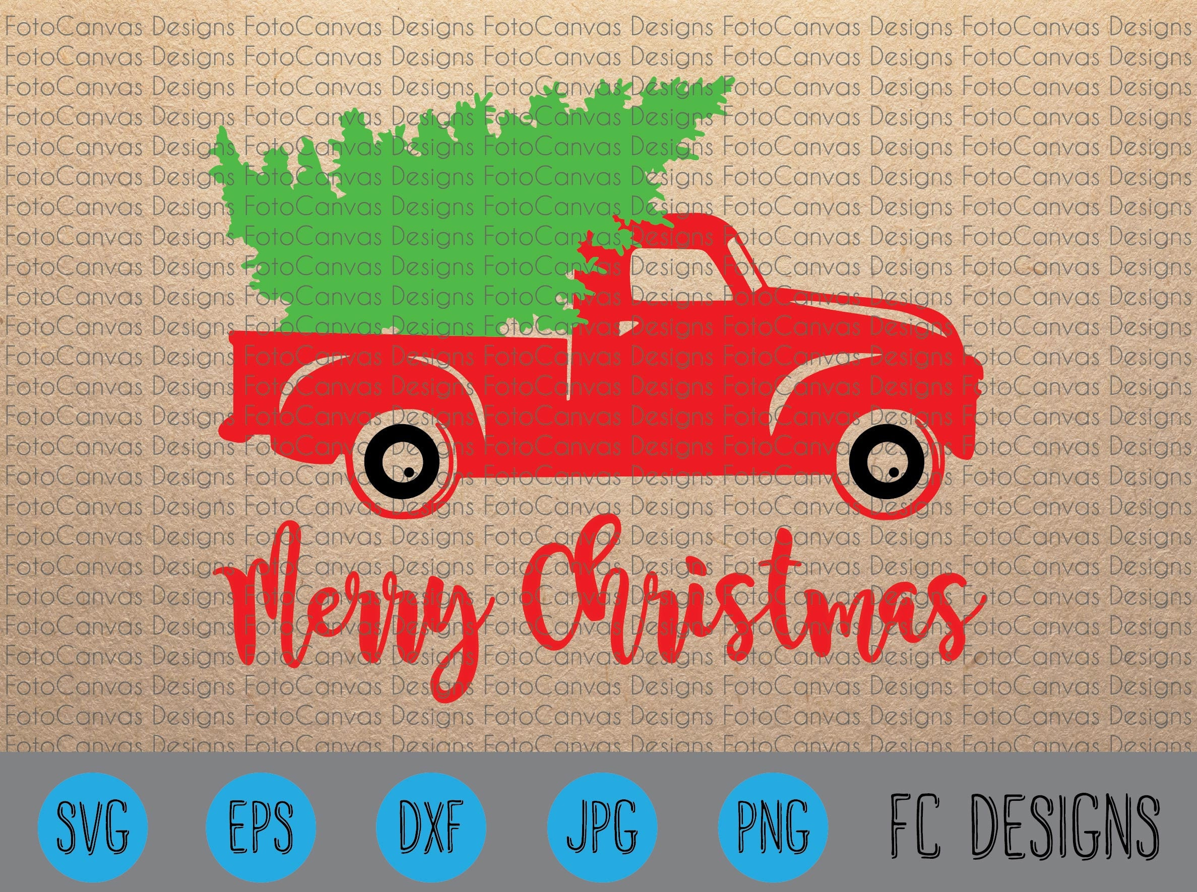 SALE Christmas Tree Truck Old Truck Vintage Antique SVG