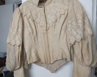 Vintage Victorian Hook And Eye Blouse/Jacket