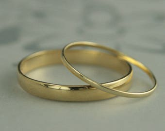 18K Wedding Ring Set His and Hers Bands 3mm Wide Band 1mm Thin Ring 18K Wedding Rings Men's Wedding Band Women's Wedding Ring 18K Thin Rings