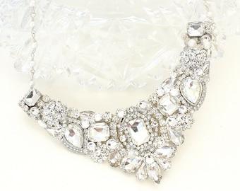 Bridal Statement Necklace- Crystal Bridal Bib- Rhinestone Bib Necklace- Crystal Bridal Necklace- Swarovski Bridal Necklace- Crystal Necklace