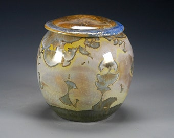 Ceramic  Lidded Jar - Multicolored - Crystalline Glaze on High-Fired Porcelain - Hand Made Pottery - FREE SHIPPING - #F-514