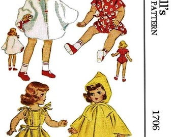 """PDF Copy of 1950's McCall's Pattern #1706 for 14"""" Toni Doll"""