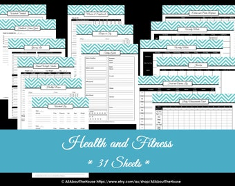 PURPLE Health and Fitness Printables- Workout Printables -Meal Planner - Home Organisation - Household Binder - 31 sheets - INSTANT DOWNLOAD