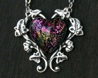 Rainbow Heart Dichroic Glass Cabochon Necklace