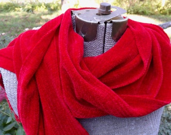 New Red Handwoven Rayon Chenille Scarf for Men or Women
