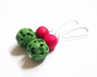 Beaded Earrings ( dangle earrings, red earrings, summer earrings, green earrings, polymer clay jewelry, silver earrings, handmade earrings )