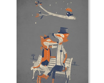 Fox Print, Fox Wall Art, Fox Poster, Dapper Fox, Wall Decor, 18 x 24