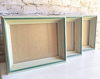 Matching Picture Frame Set Vintage 6x8 Unique Turquoise Teal and Gray Vintage Wood Wall Hanging with glass Retro Pop of Color