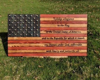 Wooden Flag with Bullets and Pledge of Allegiance