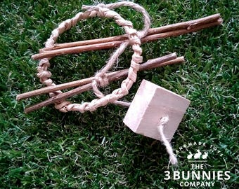 Wood, paper ring, willow / rabbit toys / bunny toys / toys for rabbits bunnies / rabbit bunny enrichment toys / safe rabbit toys / chew toys