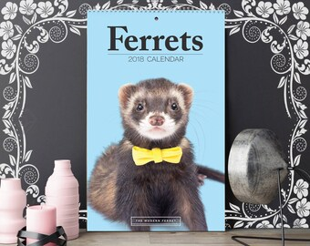 GIANT Ferret Calendar 2018! Free Giftwrapping, minimal Valentine Anniversary, modern animal planner physical, huge large pet year 11x17