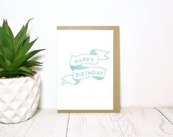 Illustration Birthday Card, Hand Made, Screen Printed