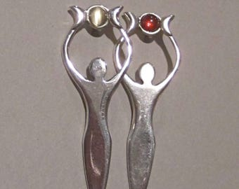 Triple Moon Goddess Pin in Sterling Silver
