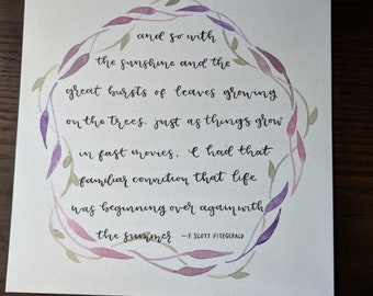 Great Gatsby Hand Lettered Quote