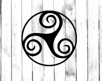 Celtic Triskell Design - Tribal Element - Di Cut Decal - Home/Laptop/Computer/Phone/Car Bumper Sticker Decal